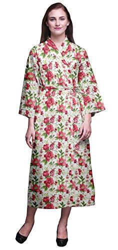 Bimba Blanco Floral Punto, Las Hojas y Las espuelas de Caballero Bata de baño Kimono Mujer Impresa Bata Kimono para niñas Batas Cruzadas Bata de baño para niñas XS