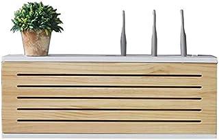 QXX Caja de la red de la red de madera maciza El enrutador montado en la pared Caja de almacenamiento TV TV de la fila inf...