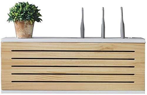 Caja de la red de la red de madera maciza El enrutador montado en la pared Caja de almacenamiento TV TV de la fila inferior zócalo Oclusion Box WiFi inalámbrico Router Shelf ( Size : Length 65cm )