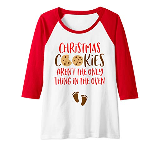 Womens Christmas Pregnancy Announcement Shirt Holiday Baby Reveal Raglan Baseball Tee