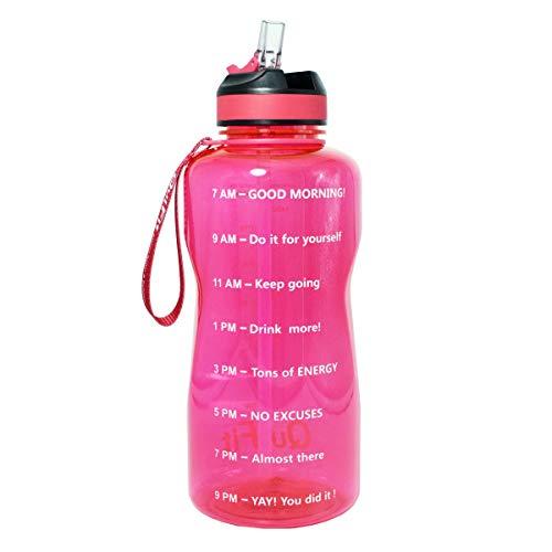 BuildLife Sport-Wasserflasche, 2 l/1,3 l, breiter Mund mit Strohhalmdeckel, motivierende Zeitmarkierung, um sicherzustellen, dass Sie genug Wasser während des Tages trinken, rose, 2L