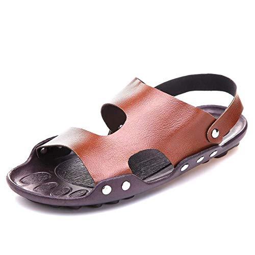 JFFFFWI Sandalias Zapatos para Hombres Zapatilla Tirar de Cuero de Microfibra Corte de Secado rápido Zueco Plano con Correa Trasera Punta Abierta (Color: Marrón, Talla: 43 EU)