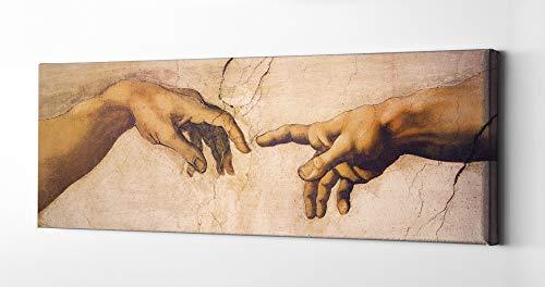 1art1 Michelangelo Buonarroti - La Creación De Adán, Detalle, 1508-1512 Cuadro, Lienzo Montado sobre Bastidor (150 x 50cm)