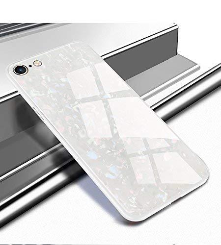 Yobby Glas Hülle für iPhone 7 Plus, iPhone 8 Plus Weiß Handyhülle Kristall Funkeln Glitzer Muster Schlank Weich TPU Bumper Schutzhülle Reflektierend Glänzend Spiegel Rückseite