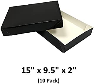 Black Apparel Decorative Gift Boxes with Lids for Clothing and Gifts 15x9.5x2 (10 Pack) | MagicWater Supply