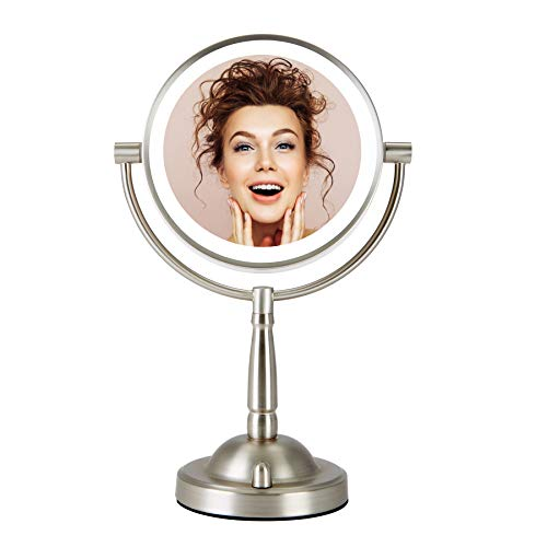 CO-Z Makeup Mirror with Lights, 8' Plug-in LED Lighted Magnifying Vanity Mirror 1x 8X Magnification, Double Sided Cosmetic Mirror