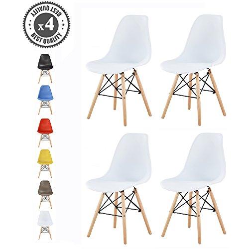 MCC Retro Design Stühle LIA Esszimmerstühle im 4er Set, Eiffelturm inspirierter Style für Küche, Büro, Lounge, Konferenzzimmer etc, 6 Farben, Kult (Schneeweiß)