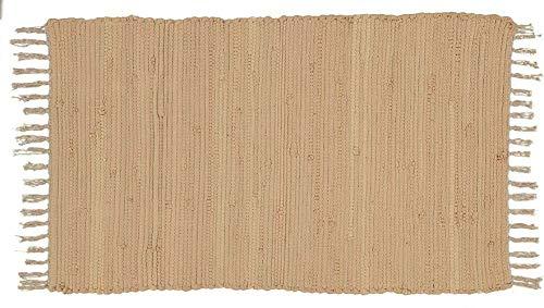 Alfombra Jarapa Beige Crema Natural, Estilo Hindu, Alfombra 100% Algodon, Alfombra de Colores con Flecos, Medida 50x80 [7351202-3]
