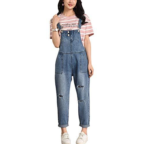 LAEMILIA Latzhose Damen Hose Latzhose Denim Jeansoptik Klasse Vintage Jeans Lang Lässig Baggy Boyfriend Stylisch Overall Jumpsuit (EU 44-46=Tag 4XL, Blau-18)