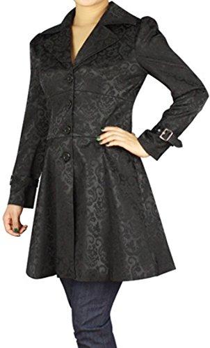 (XS, SM, LG, 18, 20, 26) Foggy Night in Paris - Black Steampunk Victorian Gothic Corset Ruffle Jacquard Jacket 5