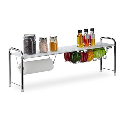 Relaxdays Spülbeckenregal mit Küchenrollenhalter, Küchenregal mit Korb, Metall, H x B x T: 32 x 94 x 23 cm, weiß/silber