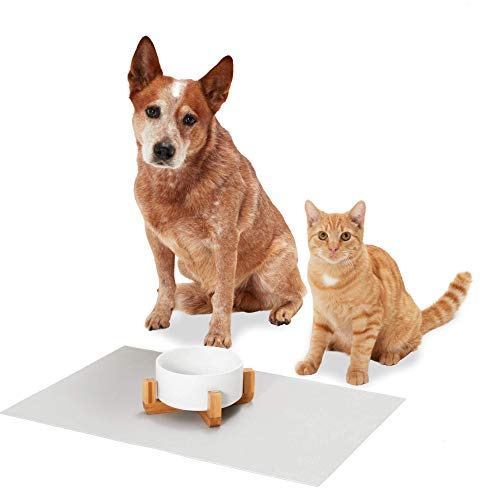PiuPet® Alfombrilla de Silicona para Comederos de Perros y Gatos - fácil de limpiar - Alfombrilla Comedero Gato - Alfombra Comedero Perro - tamaño 60 x 40 cm