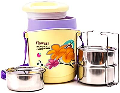 Wonder Hotline 3 Insulated Office Lunch Box with Stainless Steel Containers, 3 Containers, Yellow Color, Made in India