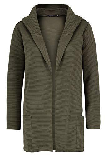Sublevel Damen Cardigan Sweat-Jacke mit Kapuze & Rillenoptik Green M