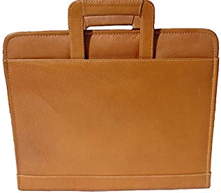 Piel Custom Personalized Leather Three-Ring Binder with Handle in Saddle