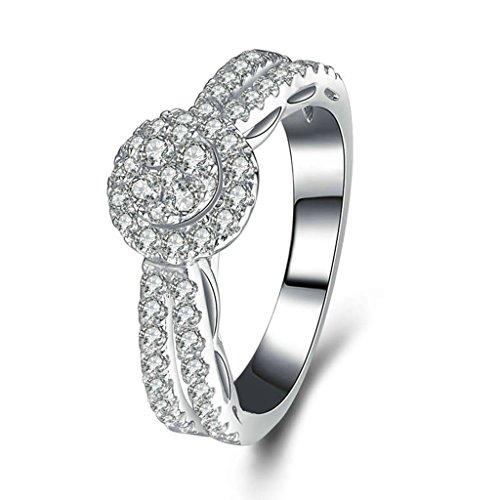 Daesar Silberring Damen Ring Silber Ehering für Damen Benutzerdefinierte Ring Concentric Kreise Strass Ring Größe:53 (16.9)