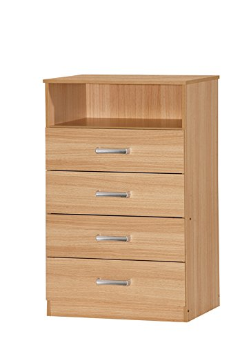 Comfy Living Chest of Drawers Oak Effect Finish with Top Shelf