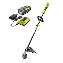 Attachment capable: accepts RYOBI expand-it attachments and other universal gas attachments to save time, money and space 40-Volt lithium-ion high capacity battery and 90-minutes charger included 13 in. to 15 in. adjustable cutting width for longer r...