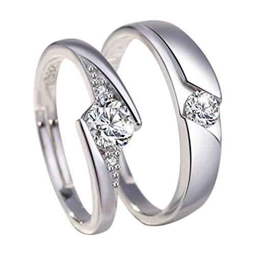 Monbedos, coppia di anelli di fidanzamento, in argento con diamanti, anelli per la coppia, per lui e lei