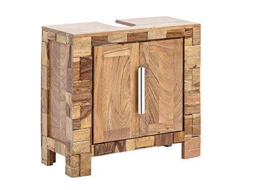 Woodkings® Waschbeckenunterschrank Baddi Holz Akazie rustikal Waschtischunterschrank massiv Badmöbel Badezimmer Badezimmerschrank Badschrank Bad Unterschrank Massivholz