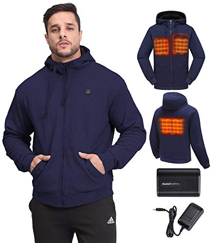 Heated Hoodie 3X, Men Winter Outwear Outdoor Skiing Hunting Working Plus Size Navy 3XL