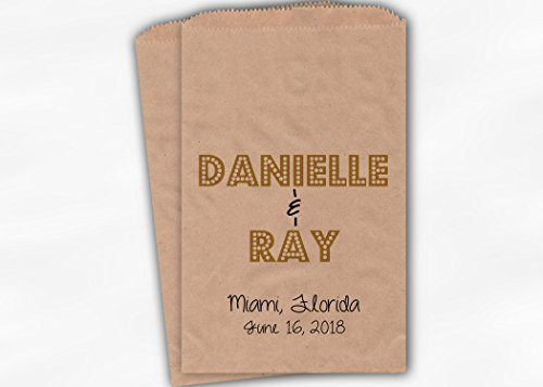 Name In Lights Destination Wedding Favor Bags for Candy Buffet in Gold and Black - Old Hollywood Personalized Set of 25 Kraft Paper Bags (0212)