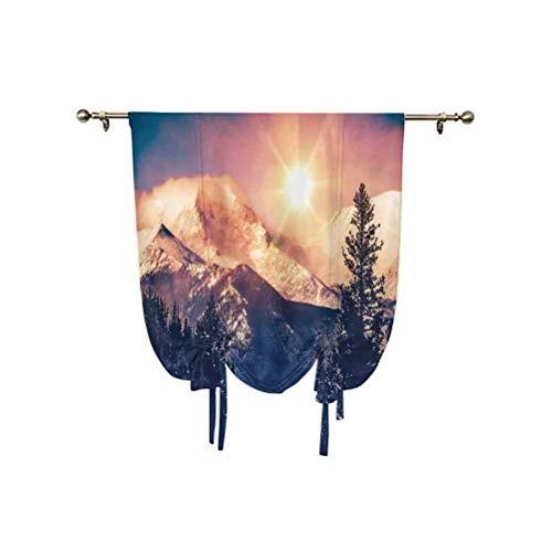 Albert Lindsay Backdrop USA Nature Decor - Cortina para ventana pequeña, diseño de montañas en Coloradao, sol brillante, colina nevada térmica, con globo, 61 x 117 cm, para cocina, dormitorio infantil