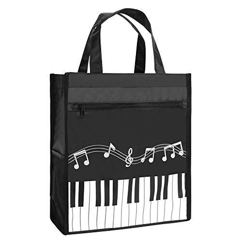 Piano Keys Music Waterproof Oxford Cloth Handbag Tote Shopping Book Bag Gift for Kids & Students(Black)