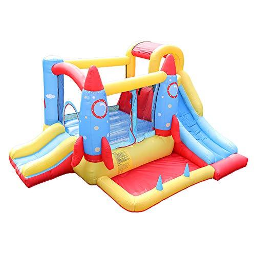 DEAR-JY Castillo Hinchable,380×280×185CM,Parque de Atracciones de Grandes Juguetes con toboganes Dobles área de trampolín y Piscina Infantil para niños de Interior y Exterior