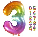Globo Gigante Multicolor Numero de Cumpleãnos 3 I 101 CM Globo Años I Globo Numero 3 I Decoracion Fiesta Cumpleaños Niños I Globos Numeros Gigantes para Fiestas I Hinchar con helio o aire (Numero 3)