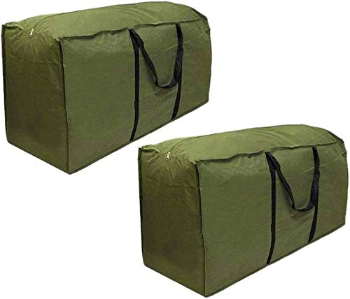 2 Pack Outdoor Cushion Storage Bag Waterproof Garden Rectanglar Furniture Bag Large Patio Storage Bag with Handle and Zipper for Christmas Tree Green 173 x 76 x 51 cm