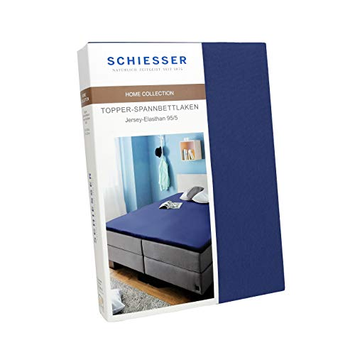 Schiesser Sábana bajera ajustable para topper de algodón Jersey-Eelastano, color azul marino, tamaño: 150 cm x 200 cm