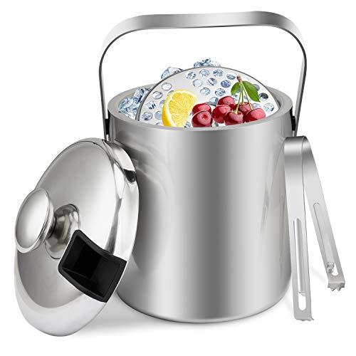 Tuevob 1.3 L Eiseimer Eiswürfelbehälter Edelstahl Eiseimer Eisbehälter mit Zange und Deckel für Eiswürfel u. Früchte ideal für Party u. Hochzeit - Eiskübel, Eiseimer Ice Bucket EIS Behälter
