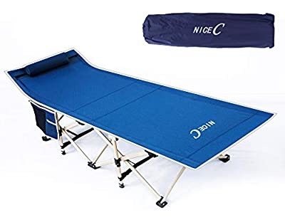 Nice C Folding Camping Cot, Sleeping Bed, Tent Cot, with Pillow, Carry Bag & Storage Bag, Extra Wide Sturdy, Heavy Duty Holds Up to 500 Lbs, Lightweight, Comfortable for Outdoor&Indoor(Dark Blue)