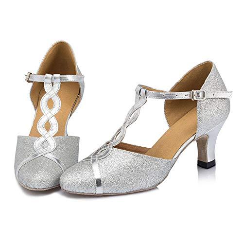 WDRSY Calzado De Danza para Mujer Zapatos De Baile Latino para Adultos con Hebilla Correa Zapatos Latinos Zapatos De Baile De Baile Cuadrados para Mujer-A_43