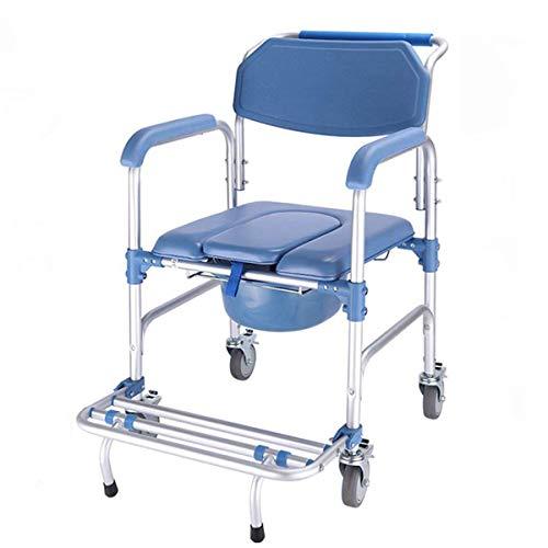 Medical Fahrbar Toilettenrollstuhl Toilettenstuhl Nachtstuhl Dusch Badehilfen Duschstuhl mit Armlehne und Rückenlehne