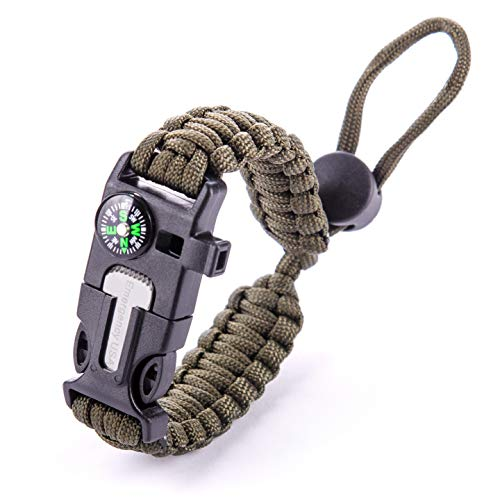 EMERGENCY USA Paracord Bracelet – Adjustable Size – Fire Starter – Loud Whistle (Army Green)