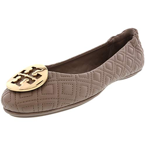 Tory Burch Women's Quilted Minnie Dust Storm/Gold 976 Leather Flat Shoe - 9M