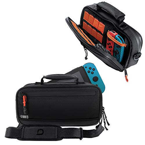 Bionik Commuter Travel Bag: Compatible with Nintendo Switch, 18 Game Slots, Joy Con Pocket, Durable Canvas Exterior, Soft Plush Interior, Removable Shoulder Strap, Backpack Attachable, YKK Zippers