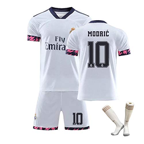 ZGDGG Men's Fans Jerseys Real Madrid Fútbol 2020-21 Home Jersey Summer Loose Breathable Football,Modric 10 a,M
