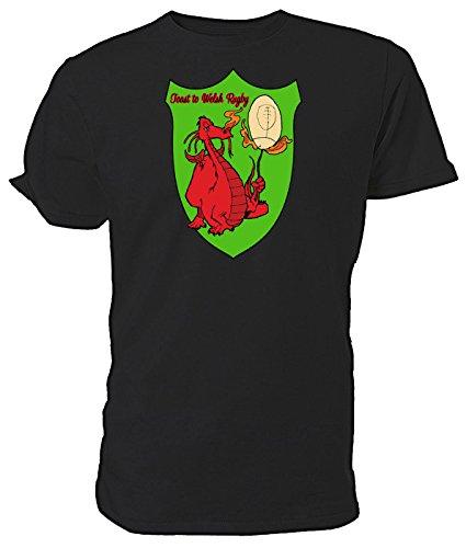 """T-Shirt mit walisischem Drachen, """"A Toast To Welsh Rugby"""", Schwarz - Schwarz - Größe: X-Large"""