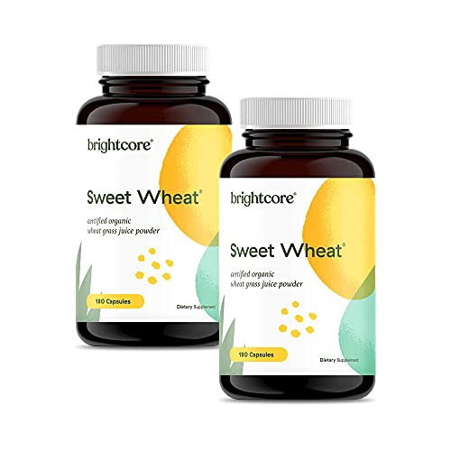 Brightcore Nutrition - Sweet Wheat, Wheatgrass Powder Capsules, Green Superfood for Digestive Health and Immune Boost, Pack of 2 x 180 Nutrient-Rich Wheatgrass Juice Capsules