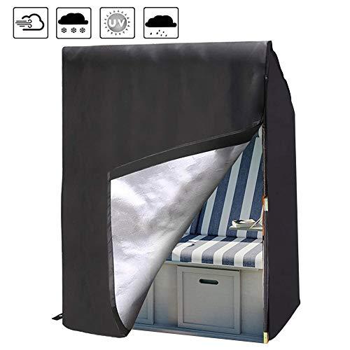 Housse Protection de Cabine Corbeille de Plage Imperméable en 420D Tissu Oxford Housse Fauteuil Chaise Mobilier Anti UV Bâche Fermeture pour Extérieur Jardin Terrasse (Noir, 135 * 105 * 175cm)