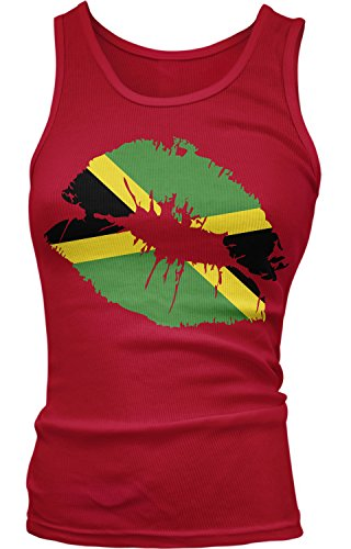 Amdesco Junior's Jamaican Flag Lips, Flag of Jamaica Kiss Tank Top, Red XL