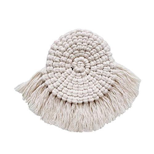 cypressen - Juego de manteles de algodón hechos a mano, redondos, de crochet, posavasos de flores del norte de Europa, 100 hechos a mano