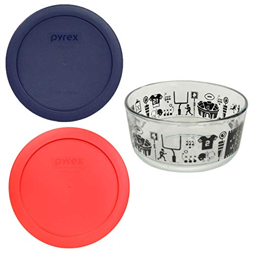 (1) Pyrex 7201 4 Cup Football Glass Bowl w/ 7201-PC 4 Cup (1) Blue (1) Red Replacement Storage Lids