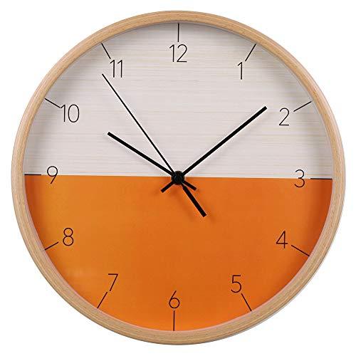 Mogzank Reloj de Pared, Reloj de Pared Silencioso Que No Hace Tictac para el Hogar/Sala de Estar/Dormitorio/Escuela, Reloj con Madera Maciza, 12 Pulgadas