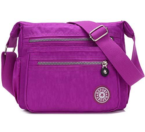 FiveloveTwo Damen Mode Nylon Schultertasche Shopper Hobo Tragetaschen Rucksack Umhängetasche Geldbörsen Tote Taschen für Alltag Büro Schule Ausflug Einkauf Helles Lila