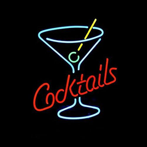 LiQi Cocktails Martini Verre Logo Bar à Bière Véritable Lumière Néon Cadeau de Noël Maison Pub Loisirs Salle de jeux Fenêtres Garage Wall Store Panneau Mural 43 x 35,6 cm Grand format