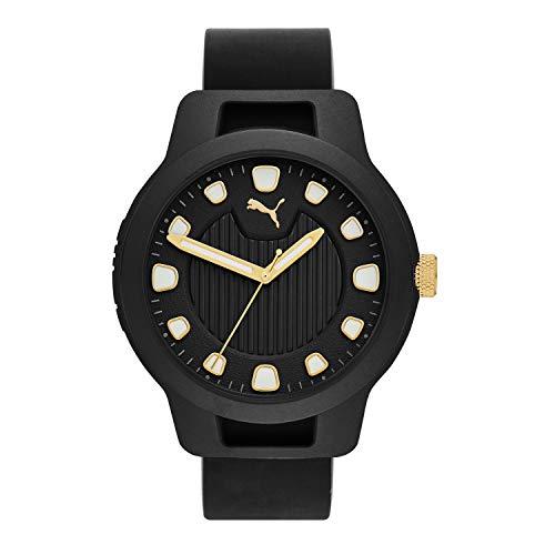 PUMA Men Reset V1 Silicone Watch, Color: Black/Gold Mesh (Model: P5033)
